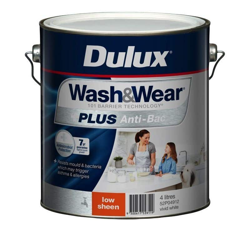 Dulux Wash & Wear +Plus Antibacterial Low Sheen Vivid White 4L