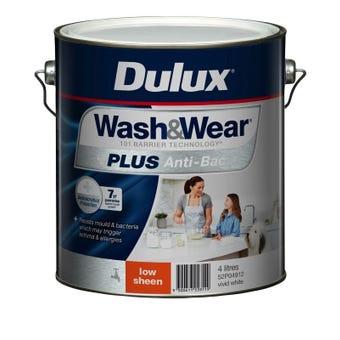 Dulux Wash & Wear +Plus Anti Bacterial Low Sheen Vivid White 4L