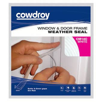 Cowdroy Window and Door Frame Weather Seal White 6 x 25mm x 3m
