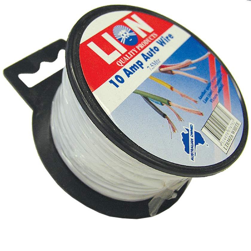 Lion 10 Amp Auto Cable White 5mm x 7.5m