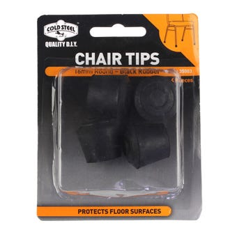 Cold Steel Chair Tips Round Black Rubber 16mm - 4 Pack