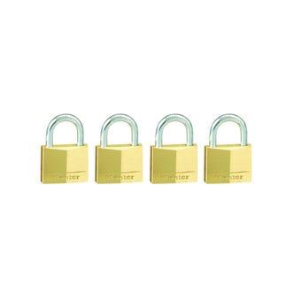 Master Lock Brass Padlock 30 x 16mm - 4 Pack