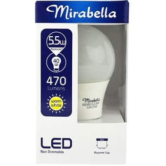 Mirabella LED GLS Globe 5.5W BC Warm White