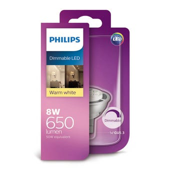 Philips Dimmable LED Downlight MR16 8W 650lm Warm White