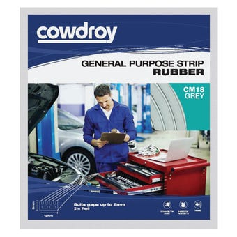 Cowdroy General Purpose Strip Rubber Grey 8 x 15mm x 2m