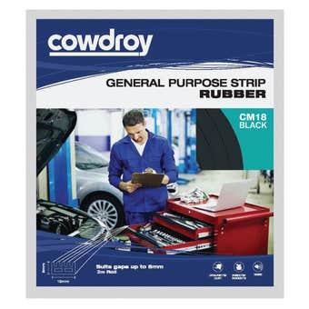 Cowdroy General Purpose Strip Rubber Black 8 x 16mm x 2m