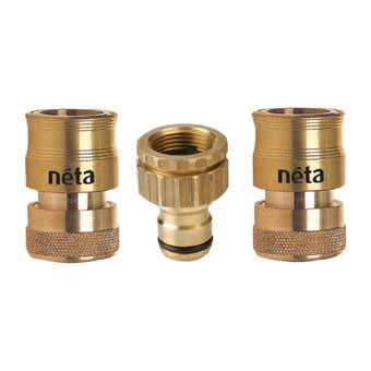 Neta Universal Hose Fittings Set Brass 18mm