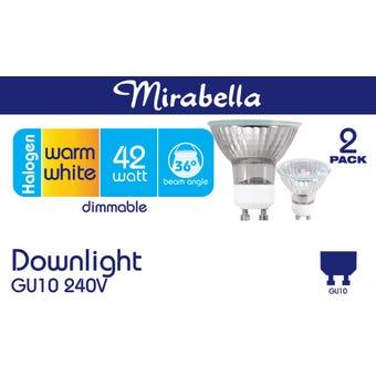 Mirabella Halogen Downlight Dimmable GU10 42W Warm White - 2 Pack