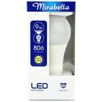 Mirabella LED GLS Globe 9W ES Warm White