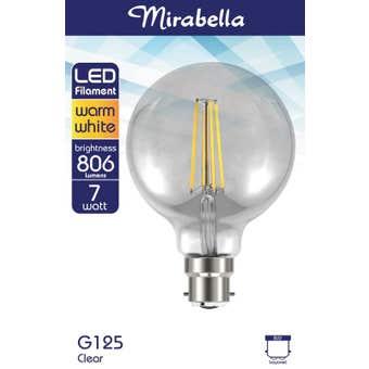Mirabella LED Filament G125 Globe 7W BC Warm White