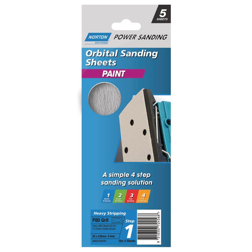 Norton Orbital Sanding Sheet Paint 92 x 230mm x 8 Hole P80 Medium - 5 Pk