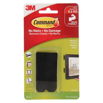 Command Adhesive Picture Hanging Strips Black Medium - 4 Pack