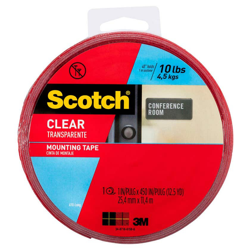 Scotch Permanent Clear Double Sided Mounting Tape 25.4mm x 11.43m