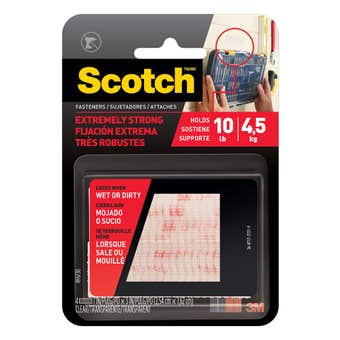 Scotch Extreme Fasteners Clear Strips 2.6 x 7.6cm - 2 Pack