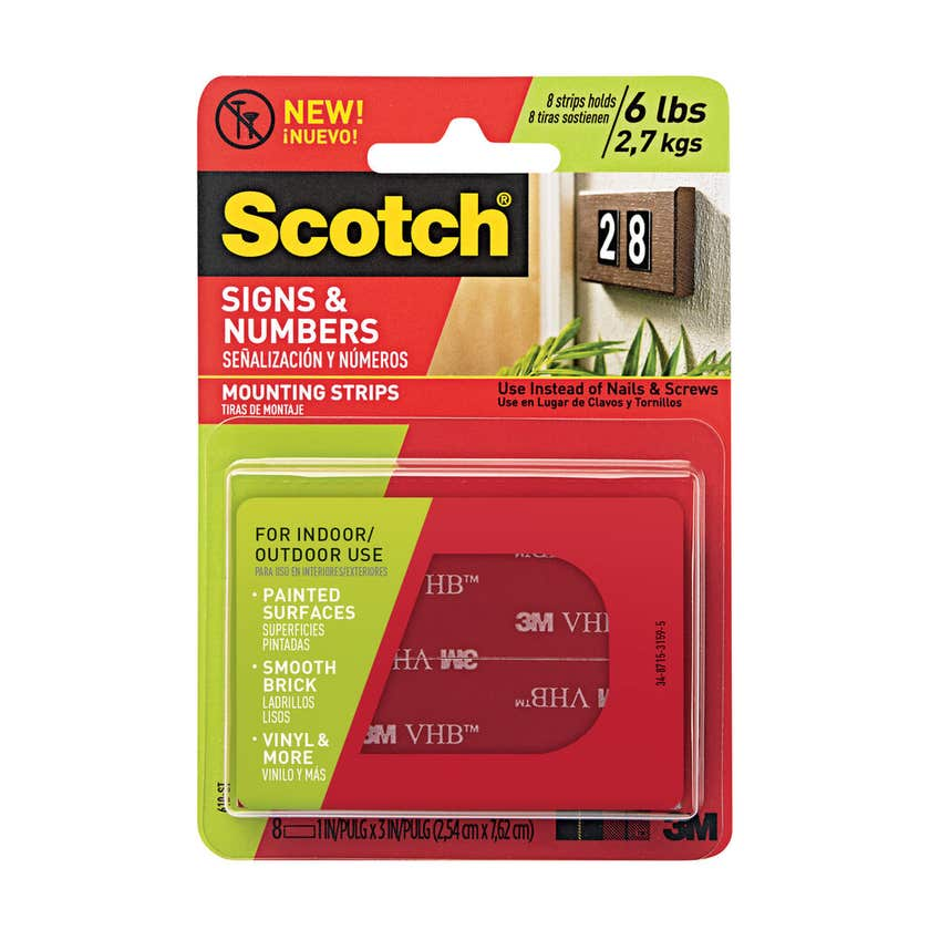 Scotch Signs & Numbers Double Sided Mounting Tape Strips 25mm x 7.6m