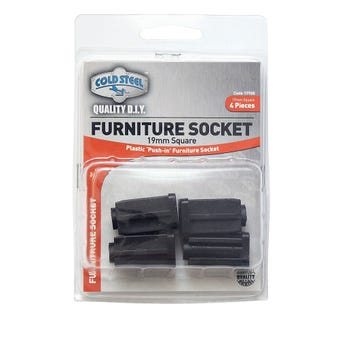 Cold Steel Furniture Socket Square 19mm - 4 Pack