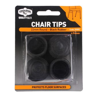 Cold Steel Chair Tips Round Black Rubber 22mm - 4 Pack