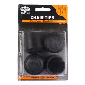Cold Steel Chair Tips Round Black Rubber 29mm - 4 Pack