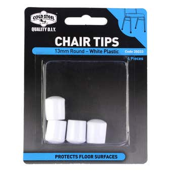 Cold Steel Round Plastic Chair Tips White 13mm - 4 Pack
