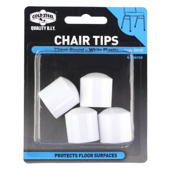 Cold Steel Chair Tips Round White Plastic 22mm - 4 Pack
