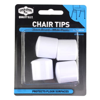 Cold Steel Chair Tips Round White Plastic 25mm - 4 Pack