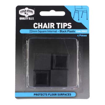 Cold Steel Square Plastic Internal Chair Tips Black 22mm - 4 Pack