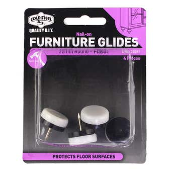 Cold Steel Plastic Nail-On Furniture Glides White 22mm - 4 Pack