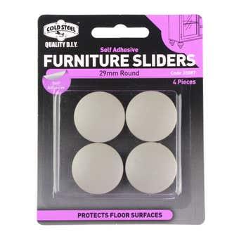 Cold Steel Round Plastic Furniture Sliders 29mm - 4 Pack