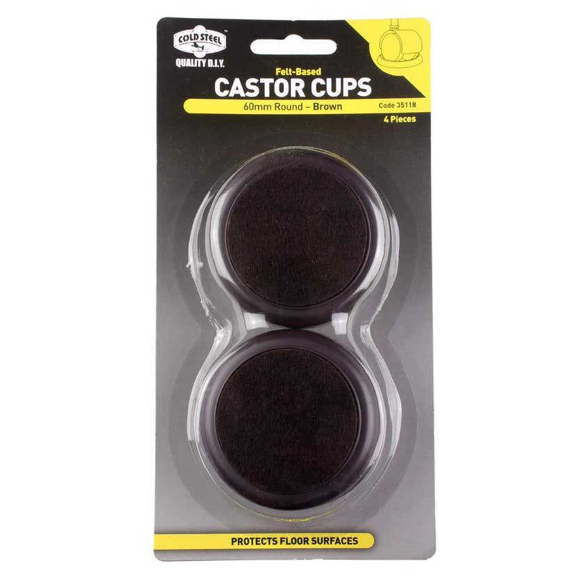 Cold Steel Castor Cups Felt Based Round 60mm - 4 Pack
