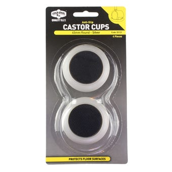 Cold Steel Anti Slip Round Castor Cup Silver 45mm - 4 Pack