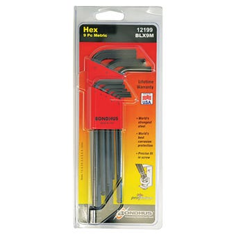 Bondhus Hex End L-Wrench Hex Key Set Metric Long - 9 Piece