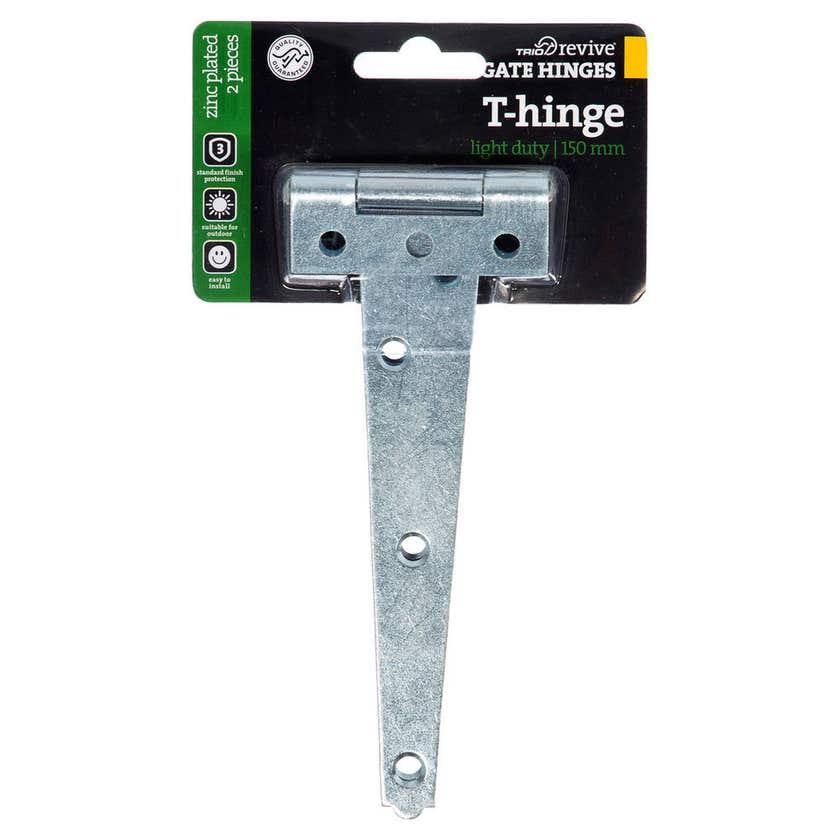 Trio Light Duty T-Hinge Zinc Plated 150mm - 2 Pack