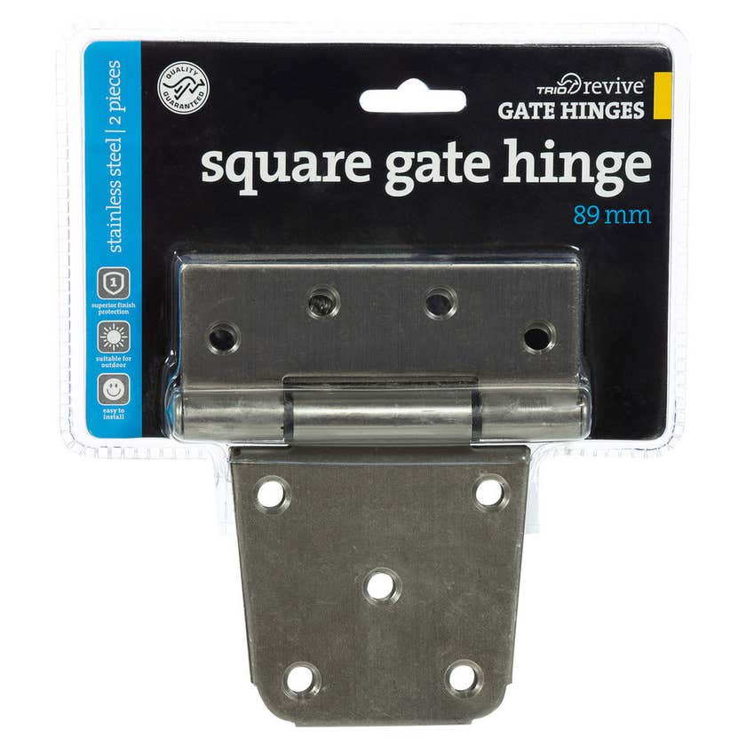 Trio Square Gate Hinge Stainless Steel 89mm - 2 Pack