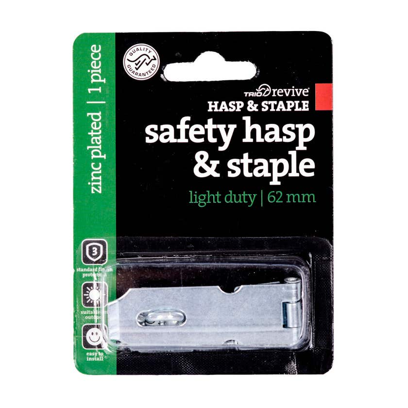 Trio Light Duty Hasp & Staple Zinc Plated 62mm