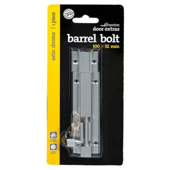 Trio Barrel Bolt Satin Chrome 32 x 100mm