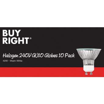 Buy Right 250V GU10 Halogen Globe Warm White - 10 Pack