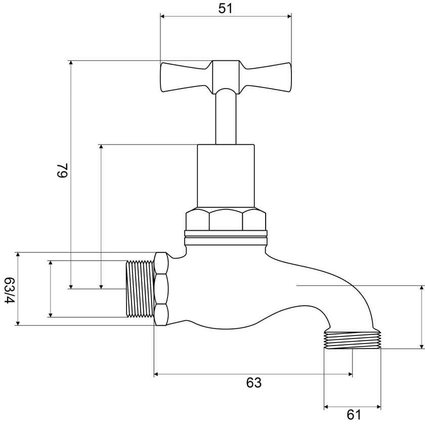 "Mildon 1/2 Turn Ceramic Disc Hose Cock Male 3/4"" Brass (20mm)"