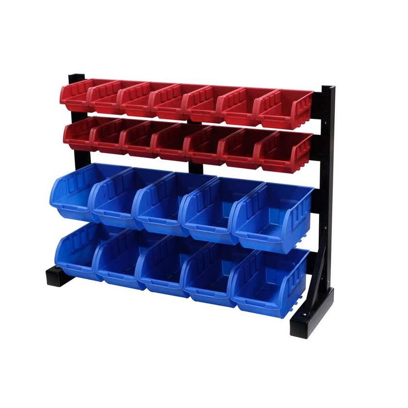 Storage Geelong 24 Bin Rack Blue Red