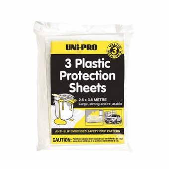 Uni-Pro Plastic Protection Sheet 2.6 x 3.6m - 3 Pack