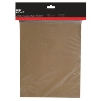 Buy Right Assorted Sandpaper - 15 Pack