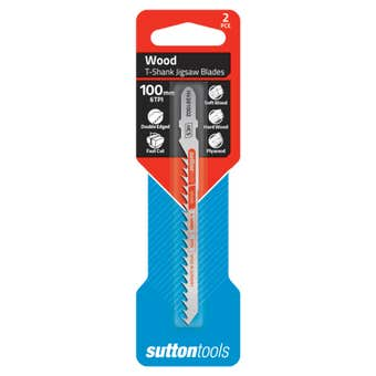 Sutton Tools T-Shank Jigsaw Blade Wood Double Edge 100mm - 2 Piece