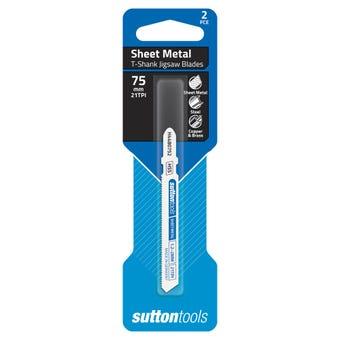 Sutton Tools T-Shank Jigsaw Blade Sheet Metal 21 TPI 75mm - 2 Piece