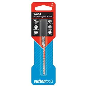 Sutton Tools U-Shank Jigsaw Blade Wood Curved Clean Cut 75mm - 2 Piece