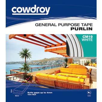 Cowdroy General Purpose Tape Purlin White 4 x 25mm x10m