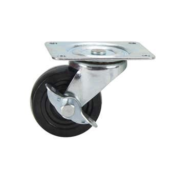 Cold Steel Rubber Swivel Castor with Brake Black 63mm