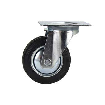 Cold Steel Rubber Swivel Castor Black 100mm
