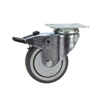 Cold Steel Rubber Swivel Castor with Brake Grey 75mm