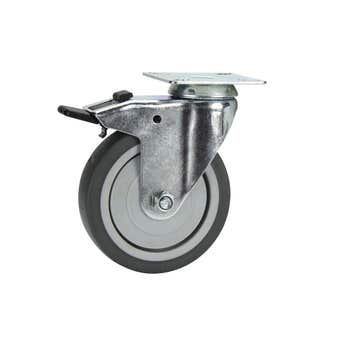 Cold Steel Rubber Swivel Castor with Brake Grey 100mm