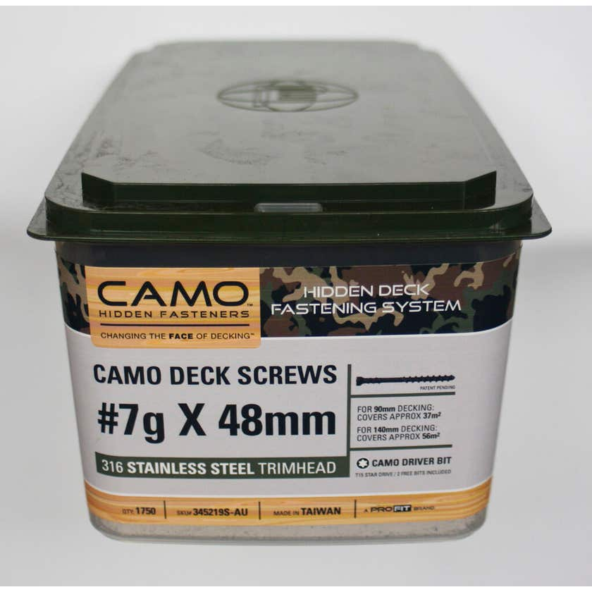 Camo Screw Trimhead Stainless Steel 48mm x 7G - Box of 1750