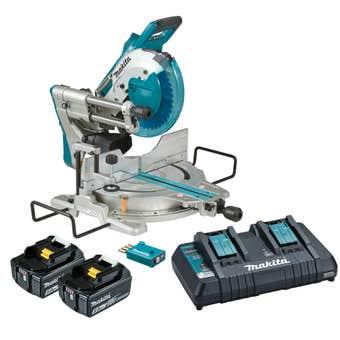 Makita DLS111PT2U 18V x 2 Brushless AWS 2 x 5.0Ah Mitre Saw Kit 260mm